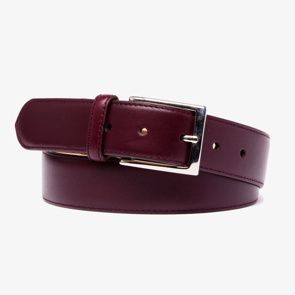 Chacon Calfskin Straight Belt in Oxblood
