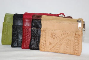 Ropin West Tooled Leather Double Zip Coin Pouch