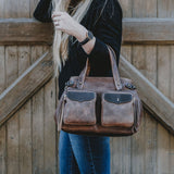 Coronado Leather Santa Fe Satchel in Saddle