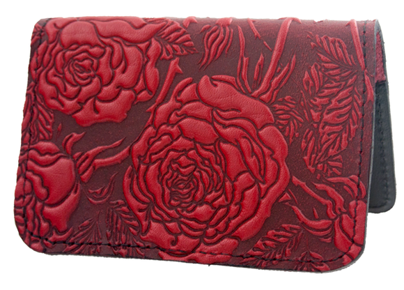 Oberon Wild Rose Card Holder in Red
