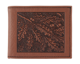 Oberon Oak Leaves Bifold Wallet in Saddle