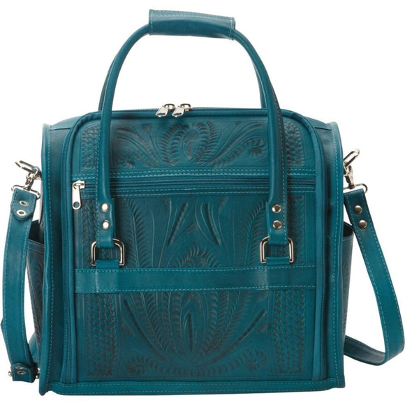 Ropin West Tooled Leather Vanity Diaper Bag in Turquoise