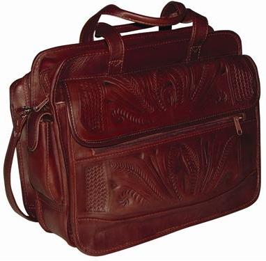 Ropin West Leather Accordion Briefcase in Brown
