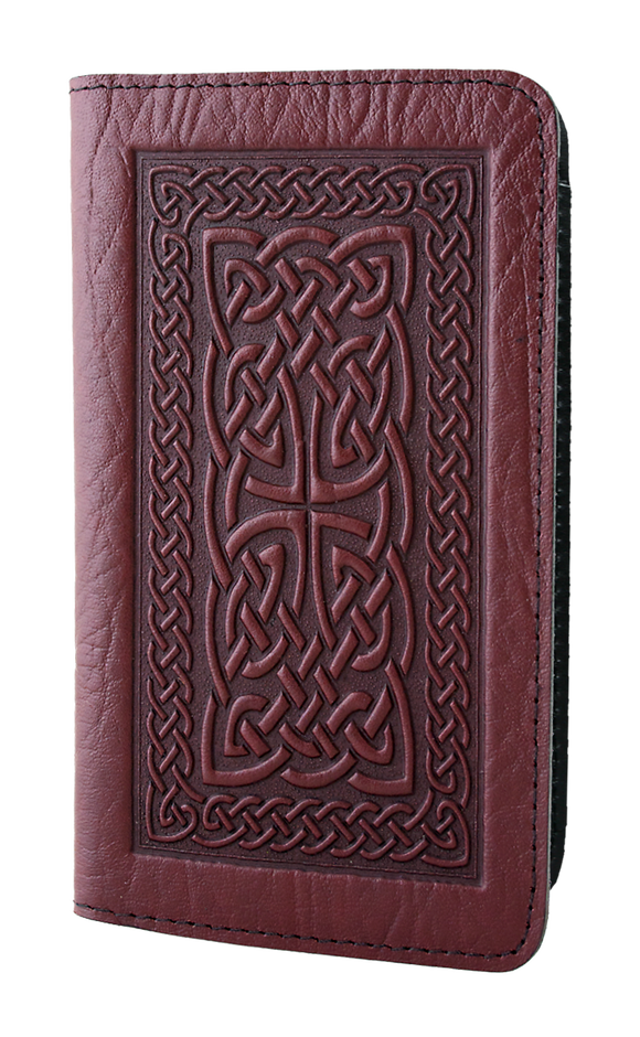 Oberon Celtic Braid Checkbook Cover in Wine
