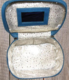 Ropin West Tooled Leather Vanity Case Interior in Turquoise