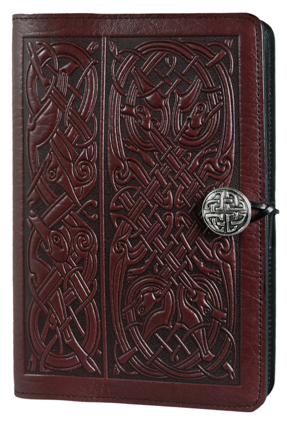 Oberon Celtic Hounds Refillable Journal Cover in Wine