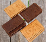 Ropin West Tooled Business Card Wallet in Natural or brown