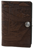 Oberon Van Gogh Boats Refillable Journal Cover in Chocolate
