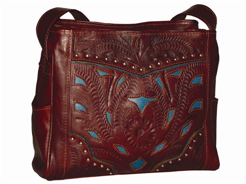 Ropin West 3 Compartment 2 Tone Bag in Brown & Turquoise