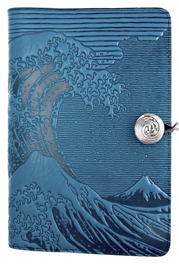Oberon Hokusai Wave Refillable Journal Cover in Sky Blue