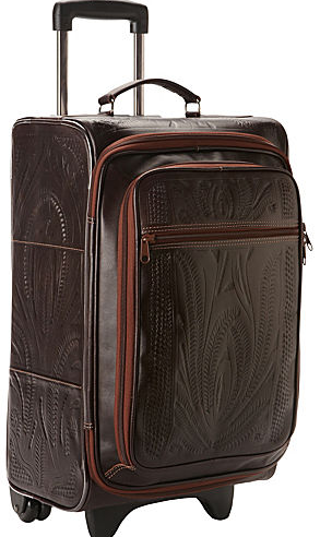 Ropin West Tooled Leather Roller Carry On in Brown
