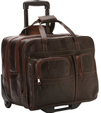 Ropin West Tooled Leather Roller Briefcase in Brown