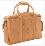 Ropin West Tooled Leather Tote Briefcase in Natural