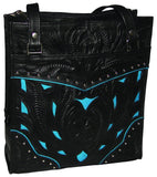 Ropin West Two-Tone Tote in Black & Turquoise