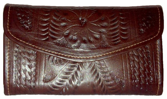 Ropin West Snap Cover Checkbook Wallet in Brown