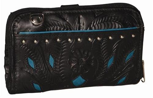 Ropin West Two-tone Checkbook Wallet in Black & Turquoise