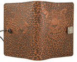 Oberon Leopard Refillable Journal Cover in Saddle