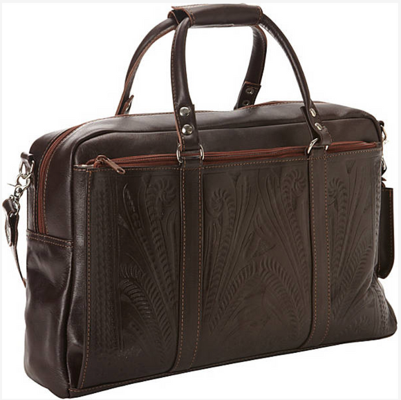 Ropin West Tooled Leather Tote Briefcase in Brown