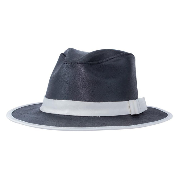 Head'n Home Hat Dapper Outback Fedora in Black & White