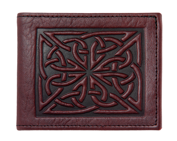 Oberon Celtic Weave Bifold Wallet in Wine