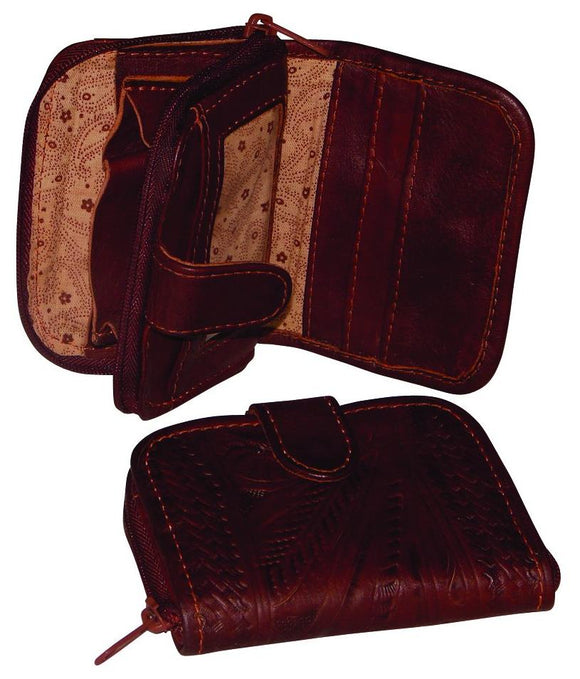 Ropin West Tooled Leather Coin ID Wallet in Brown