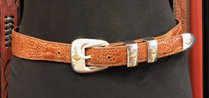 Chacon Ostrich Leg Tapered Belt in Cognac