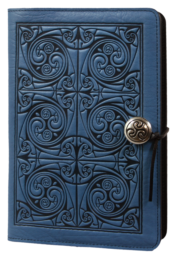Oberon Triskelion Knot Refillable Journal Cover in Sky Blue