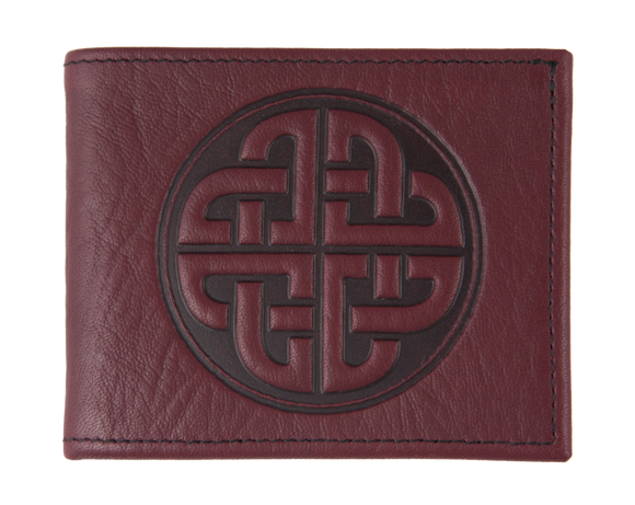 Oberon Bold Celtic Bifold Wallet in Wine