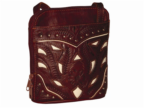 Ropin West Single Compartment Organizer Crossbody in Brown & Pearl