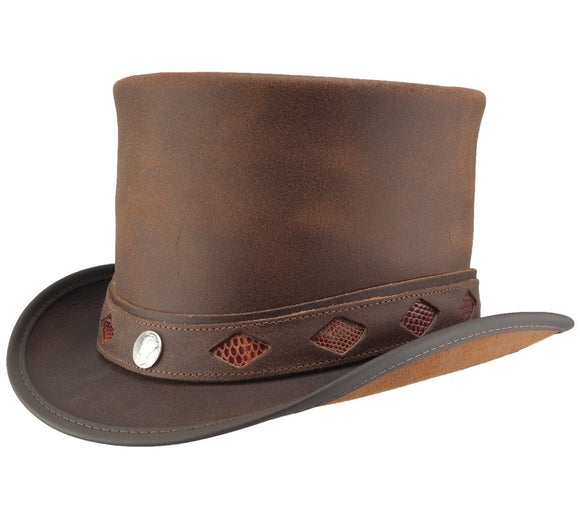 Head'n Home Hat Topper with Diamond Inlay Band in Brown
