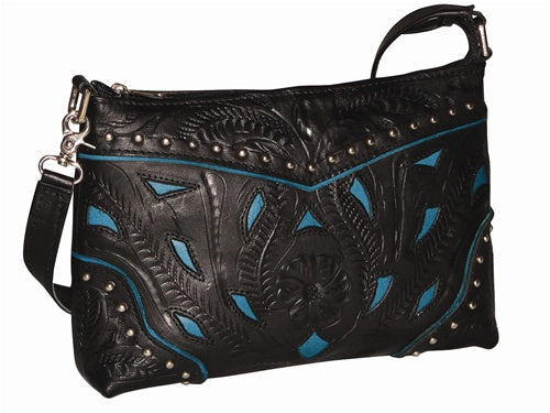 Ropin West Two-Tone Clutch Shoulder Bag in Black & Turquoise