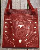 Ropin West Two-Tone Tote in Red & Pearl