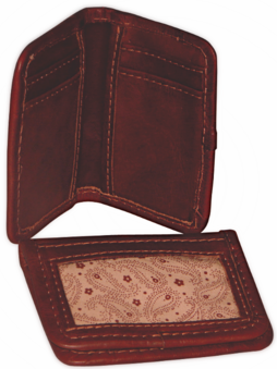 Ropin West Tooled Leather ID Card Wallet in Brown