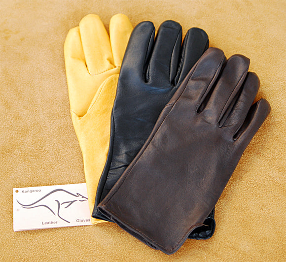 Geier Kangaroo gloves in brown, black, and saddle tan - uncinched