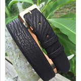 Chacon Sharkskin Straight Belt in Black
