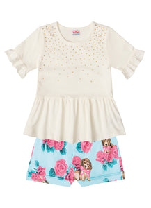 White Floral Puppy Set - Hopscotch and Kite