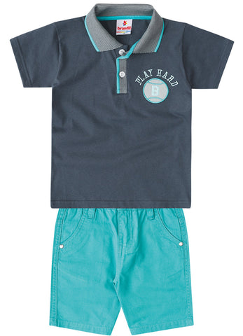 Play Hard Polo Shirt and Shorts Set - Hopscotch and Kite