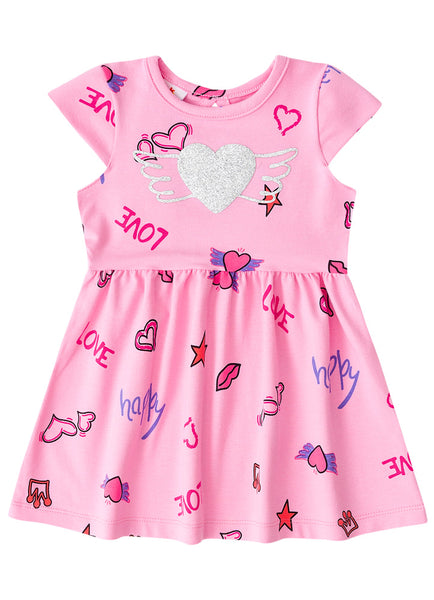 Pink Heart Dress - Hopscotch and Kite