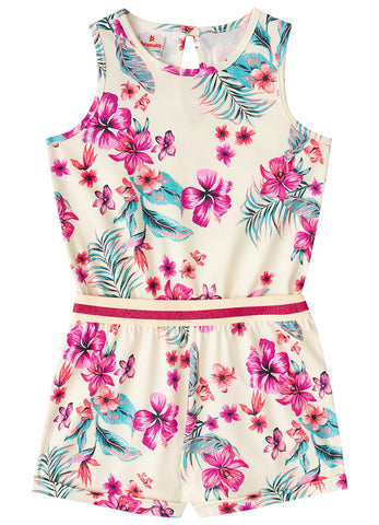 Floral Playsuit in White - Hopscotch and Kite