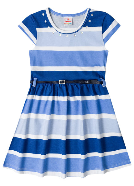 Blue Stripes Dress - Hopscotch and Kite