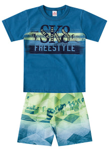 Freestyle Blue Tee and Shorts Set - Hopscotch and Kite