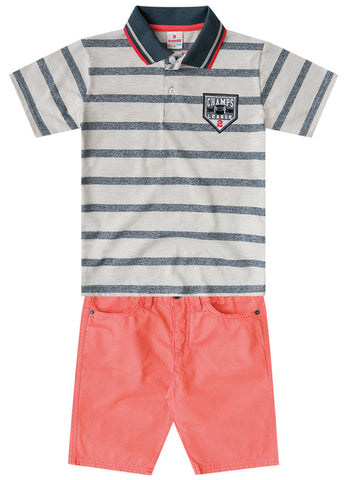 League Polo Shirt and Shorts Set - Hopscotch and Kite