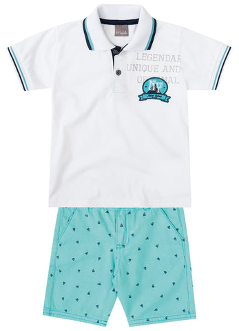 White Polo Shirt and Shorts Set - Hopscotch and Kite