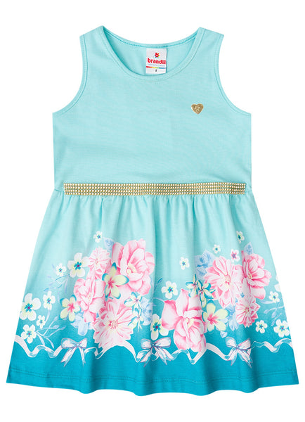 Flowers and Ribbons Aqua Dress - Hopscotch and Kite