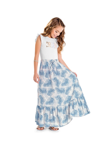 Blue Dream Maxi Skirt and Top Set by Hopscotch and Kite
