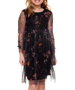 Dark Charcoal Floral Mesh Overlay Empire Waist Dress