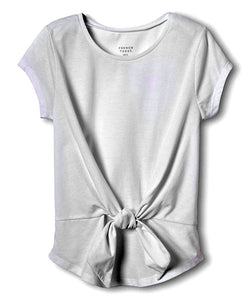 White Tie-Front Scoop Neck Tee