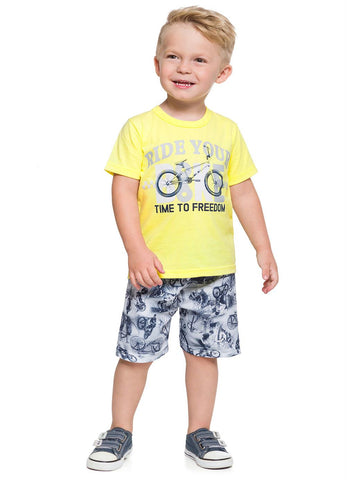 Bike Printed T-Shirt and Shorts Set - Hopscotch and Kite