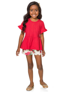 Red Floral Puppy Top and Shorts Set - Hopscotch and Kite