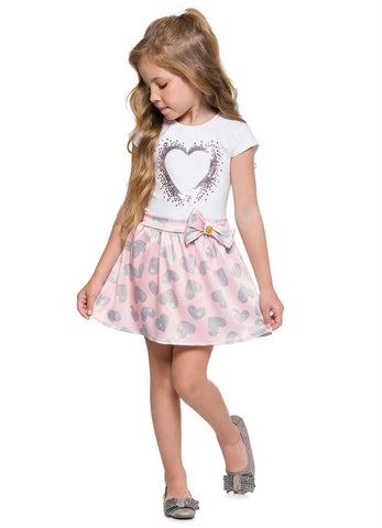 White Little Heart Top and Skort Set - Hopscotch and Kite